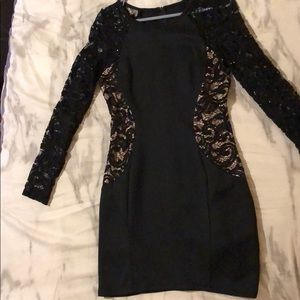 Black, Long Sleeve, Bodycon, Mini Dress